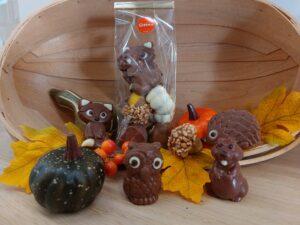 Herfstpraline en chocolade diertjes